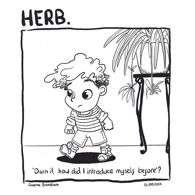 Herb: Day 56  Herb, (short for Herbert), is a young boy of four years and 56 days. One day he tries to find the voice. ***. . This is a comic that I'm still really enjoying making. It's a really odd one because it goes against all story convention. For a start, its hardly a funny or snappy introduction to a pair of characters. But I'm hoping as time goes on the story will start to become clearer. I am still figuring out how to draw him and the panels as well. But this whole project is by it's very nature, intended to be a journey. . . . #artistsoninstagram #ukillustrator #illustrationireland #comicart #comicstrip #procreate #digitalart #longform #journey #voices
