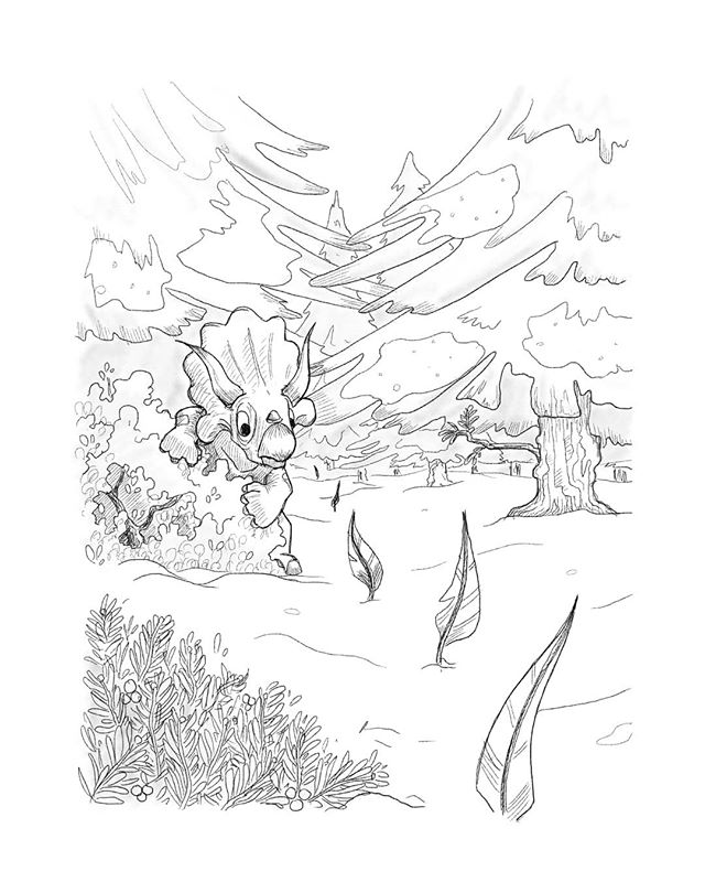 Inktober day 3: Bait  Upon waking up the triceratops wandered from the beach for a day and a night. The landscape here was unlike anything he had seen, the ground was soft and cold underfoot. There was very little plant life he recognised, and barely any fruit to eat. He was seemingly alone here - until the next morning when he discovered a trail of feathers winding through the pine trees. . . . #inktoberday3 #bait #dinosaurs #pineforest #tundra #procreate #digitalart #illustratorsireland #artistsofireland #comicartist #taonosaurus #visualstorytelling #storytime