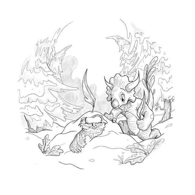 Inktober day 4: freeze  Following the trail of feathers the triceratops arrived at a small mound of snow with a feather sticking up out of the top like a flag. On closer inspection he discovered a bird was the source of the pile up of snow, nearly frozen through and very still. Triceratops dug the bird out of the snow and set about building a fire to warm them both up again. . . . #inktober #inktober2019 #inktoberday4 #illustrationireland #artistsoninstagram #artistsofireland #comicbookart #digitalillustration #visualstorytelling #triceratops #owl