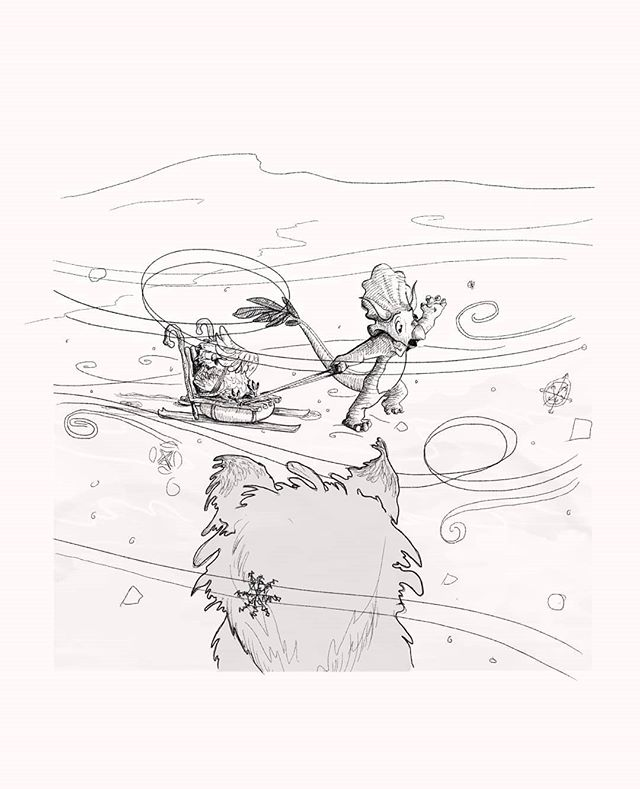 Inktober day 6: Husky. . (Im a few days late with this one, mainly due to not knowing how on earth to draw a snowstorm). . . After having built a sled together. Owl mostly supervising what with his broken wing. Triceratops and Owl began their journey south. Unfortunately it seemed within hours, their luck in finding eachother was running out. A snowstorm whipped up around them reducing their vision to only a meter or two. Their cries into the storm seemed to be falling upon thin air until a husky - lost from his human - heard them with his keen ears through the snow... . . . #snowstorm #triceratops #dinosaurstory #inktober#inktober2019 #inktoberday6 #digitalillustration #childrensillustration #illustratorsireland #artistsoninstagram #irishartists #englishartist #procreate #comicartist #comicstrip #comicbookart