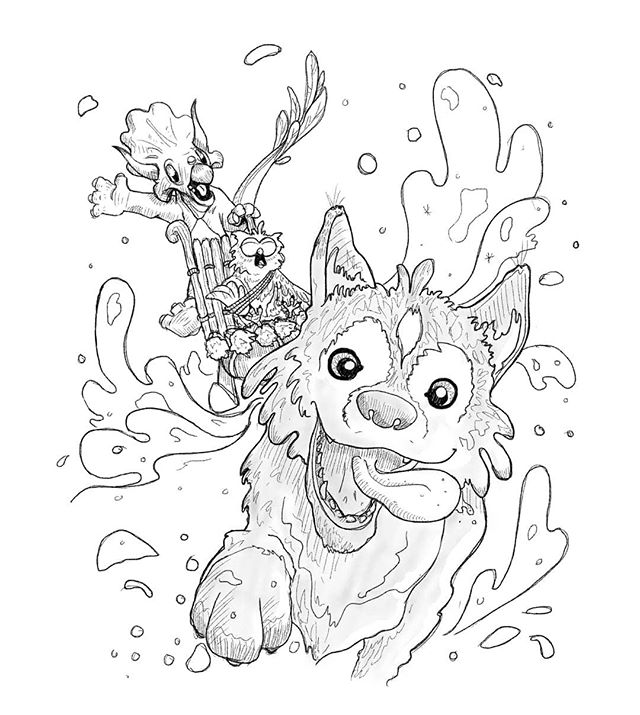 Inktober day 7 : enchanted. . I am very behind with these now but at the same time I am enjoying the story so will likely continue. Even if it takes a bit longer to do. . . The Husky approached the lost owl and triceratops hoping they might be able to help find her human. Triceratops and owl hadnt seen anybody for many days but they agreed to let Husky come along on their journey south on the off chance they found each other. As an added bonus Husky offered to pull the sled. Not only was she amazingly fast but she loved every second of it. In just a few hours this group of unlikely allies were enchanted with eachother and the journey they were undertaking. Triceratops to find his kin. Owl to find new hunting grounds and Husky, to find her human. . . . #inktober #inktoberday7 #inktober2019 #childrensillustration #artistsofireland #irishillustrators #husky #owl #triceratops #adventurestory #storytelling #storytime #digitalart #comicartist