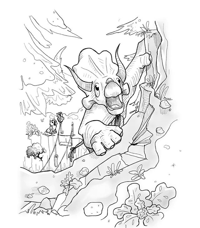 Inktober day 8: Frail. . . As the days passed, like the snowy landscape they travelled through. Triceratops, Owl and Husky started to note more plant life again. The snow was thinning out and there were coniferous trees, ferns and even bits of grass. Unfortunately however that meant that the sled was slowly becoming more useless by the day. In just a few days they reached a ravine with a rope bridge extending across it. But the ropes were worn and frayed, and half the planks were missing. The sled had reached its final destination. Not daring to cross the frail bridge, Triceratops climbed the rocky cliffside next to the ravine in order to hang a rope so that they might get across the precipitous drop another way... . . . #inktoberday8 #inktober2019 #inktober #digitaldrawing #comicartist #illustratorsireland #artistsoninstagram #artistsofireland #childrensillustration #triceratops #owl #husky #adventurestory #periodical