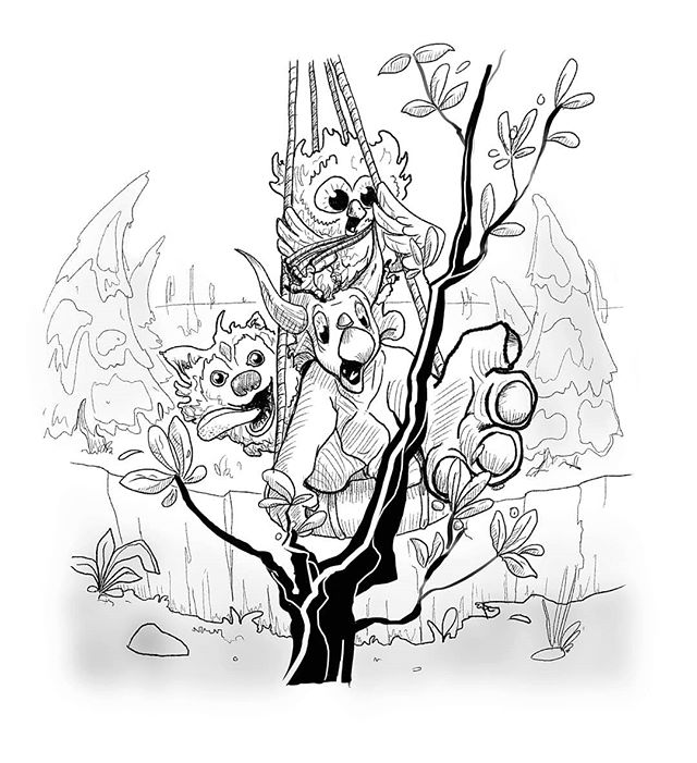 Inktober day 9: swing  Triceratops secured the rope tightly around a high up outcropping. Then, once back down on the ground with Owl and Husky, he attatched the other end of the rope to his trusty life ring. Fashioning a swing for them all to get across the ravine safely.