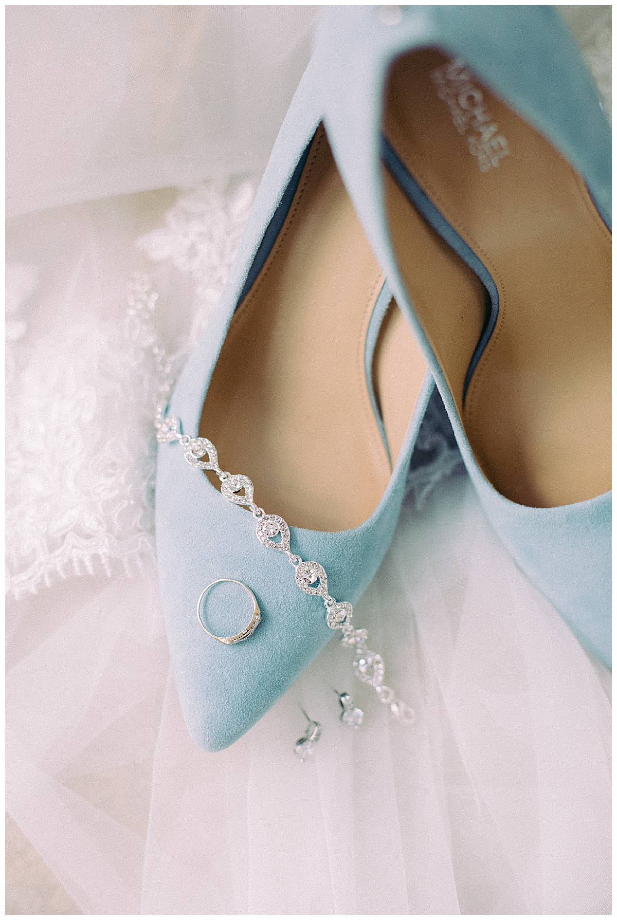 Blue Suede Michael Kors Pumps   Tradition Town Hall Wedding