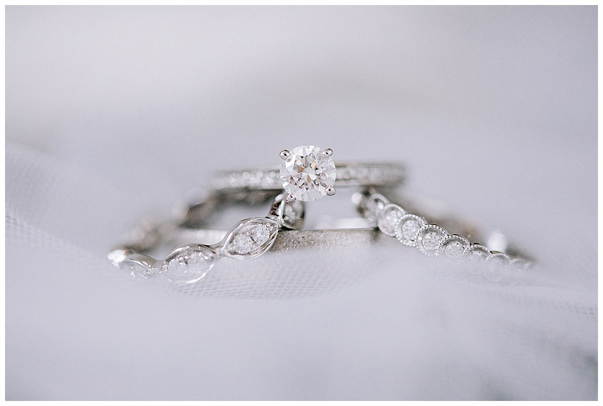 Three set diamond wedding bands