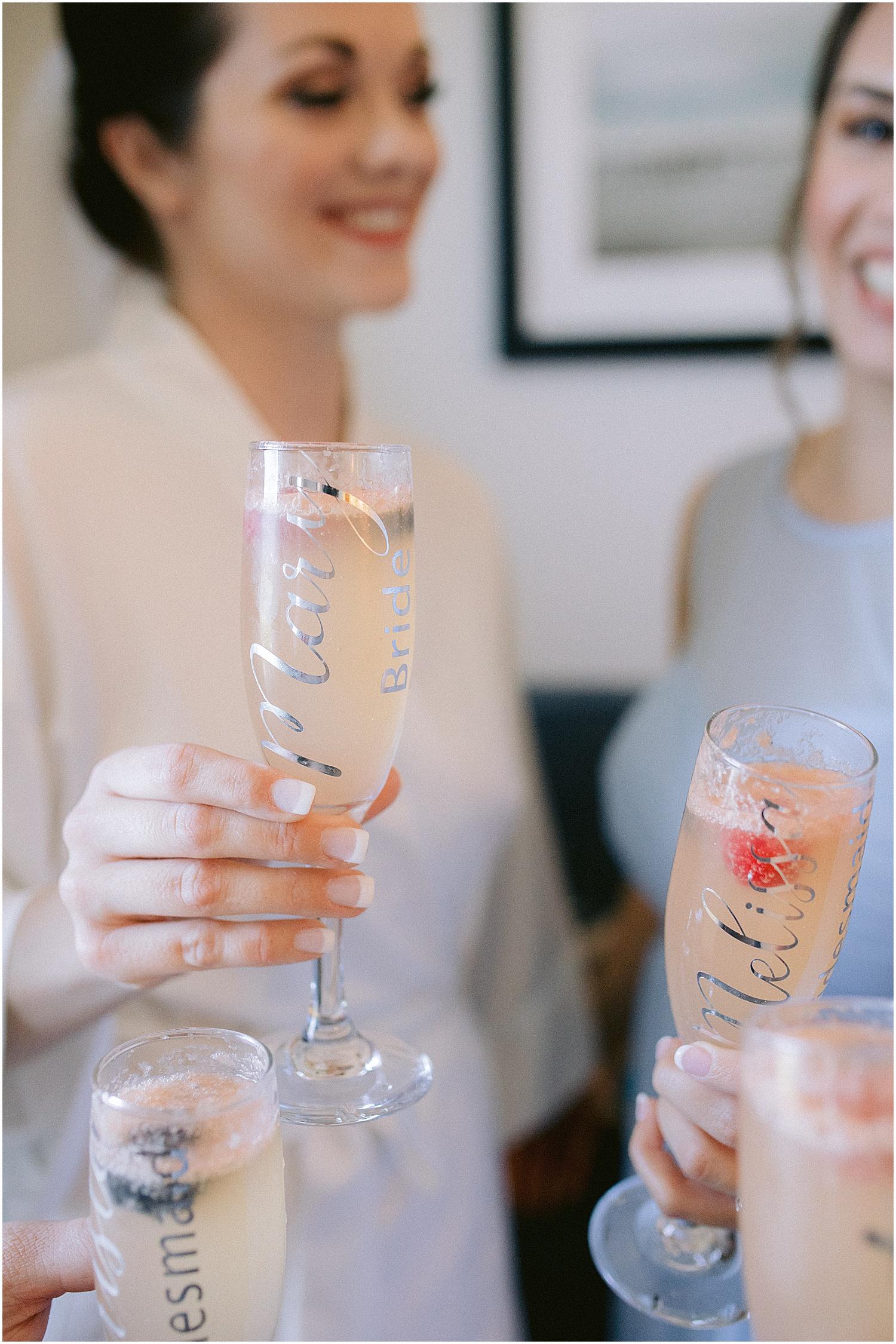 Custom champagne wedding glasses Willoughby Golf Club wedding