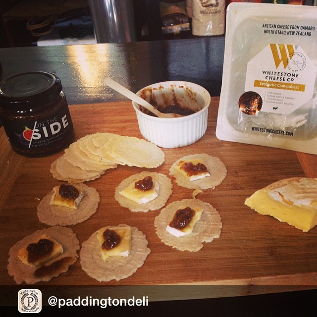 Repost from @paddingtondeli slight obsession is taking place! Tasting today - Whitestone Probiotic Camembert w On the Side Peppered fig paste. We ❤  artisan producers! #probiotic #camembert #cheese #paddingtondeli #figpaste #getinmybelly #nzcheese @finofoodandwine