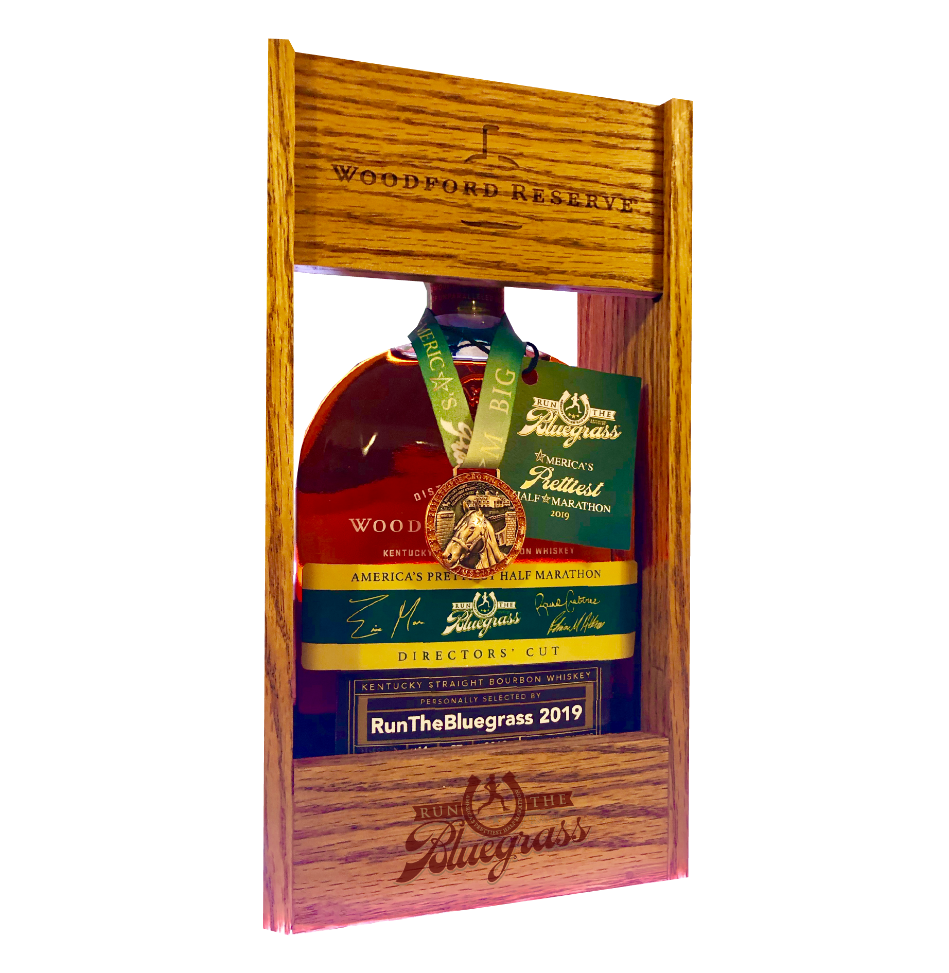 Handmade, Genuine Oak Display Case   Made locally here in Central Kentucky, laser-etched with our RunTheBluegrass logo and Woodford Reserve's.  Specially fits our 1L commemorative bottles. $50+tax at Expo.
