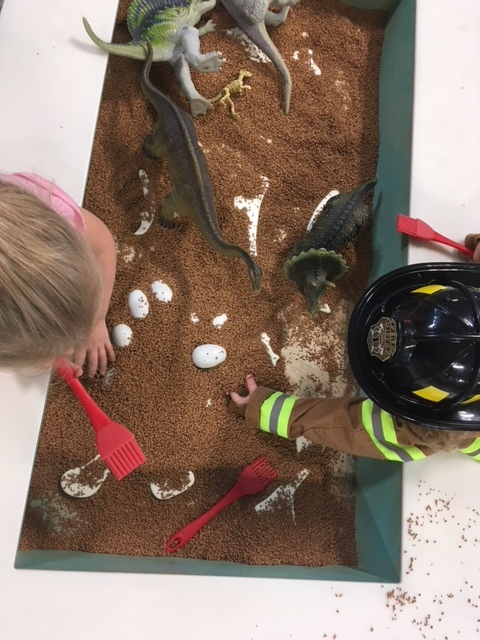 DINO DIG  Dinosaur lovers dig into a fossil hunt and dinos with eggs in a sensory experience.