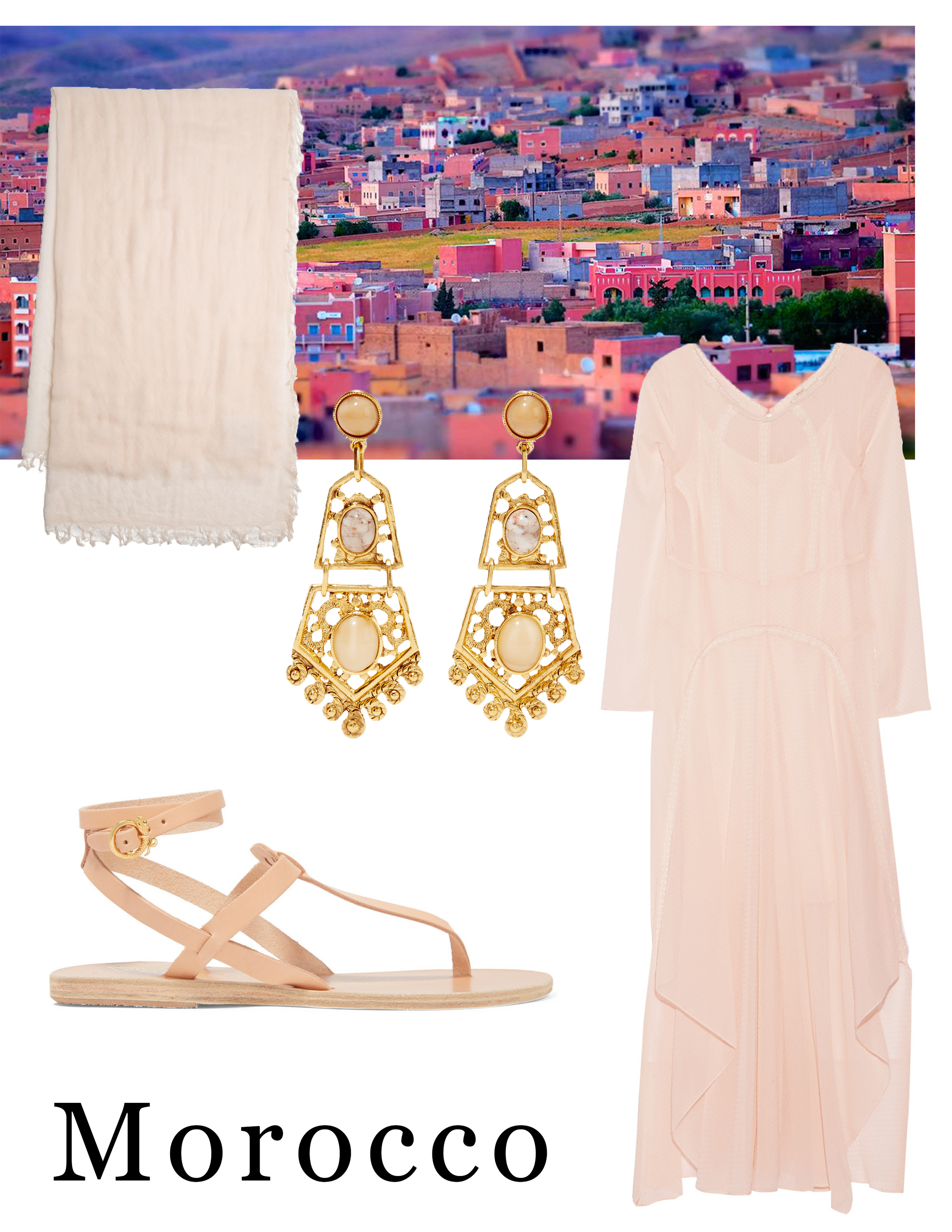 Packing inspiration: flat sandals ( Ancient Greek Sandals ); a scarf for covering hair where necessary ( Rag & Bone ); earrings to dress up day dresses ( Ben-Amun ); a floor-length modest yet chic dress ( Maje ).