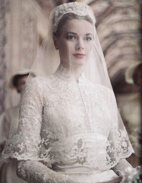 Grace Kelly in an elbow veil. | The Wildflowers featured on Martha Stewart Weddings | Instagram: @ thewildflowers_com | www.thewildflowers.com