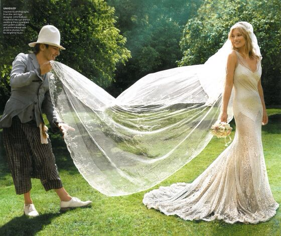 Kate Moss in a chapel veil.