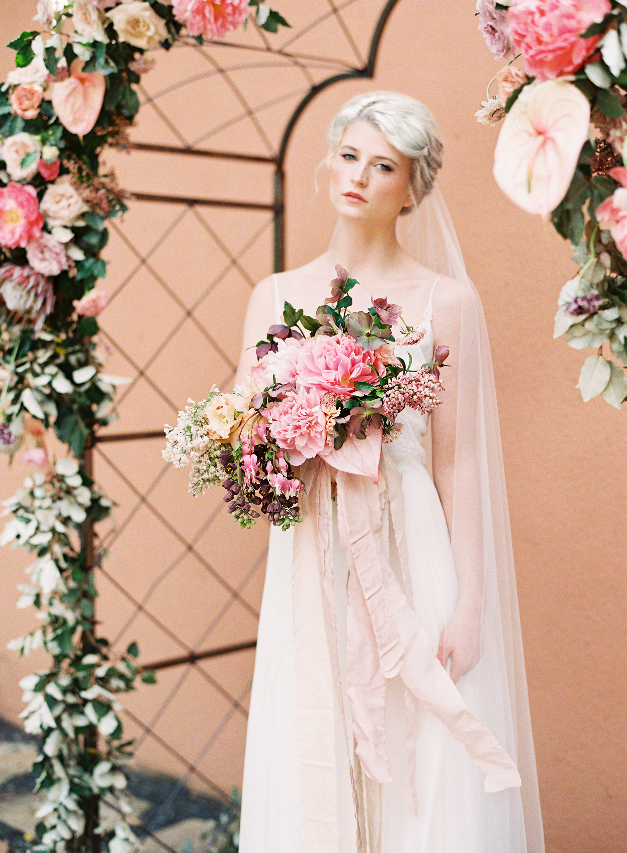 Organic, terra cotta pink wedding inspiration featured in   Style Me Pretty