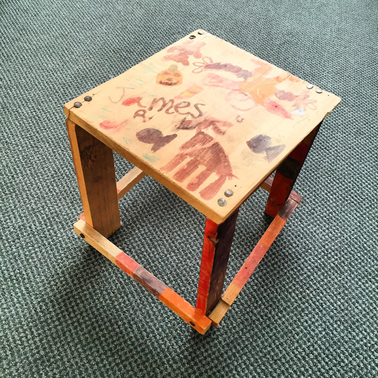 The first piece of furniture I made as a kid. Side table, March 1996