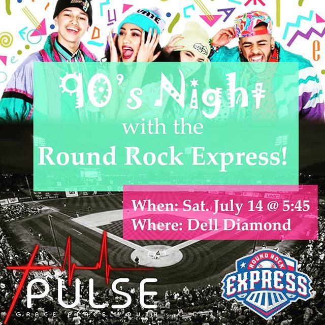PULSE FAMILY! Tomorrow we are hanging out in the 90s at a baseball game! Spread the word!  The person with the best 90s outfit gets a sur-prize from the 90s. See you there!  @rrexpress @thegpchurch #takemeouttotheballgame #90s #baseballgame #youthgroup #churchfamily