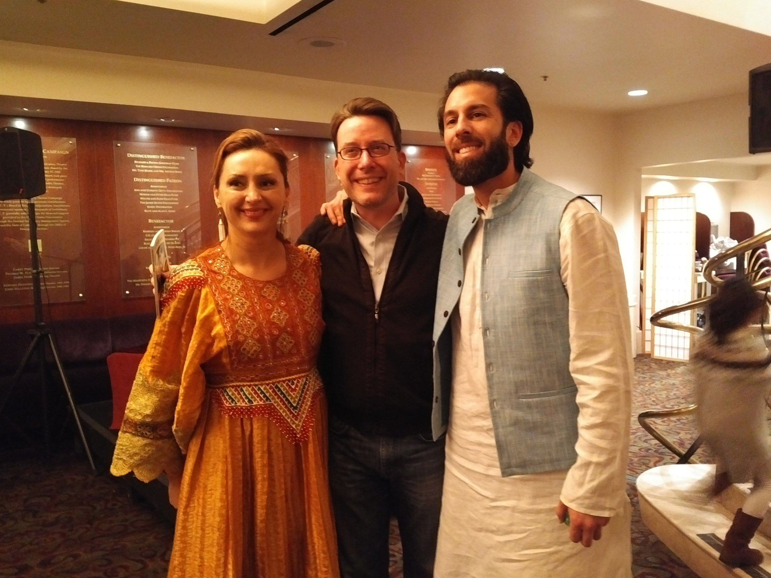 Humaira with playwright Matt Spangler and award-winning Afghan percussionist Salar Nader.