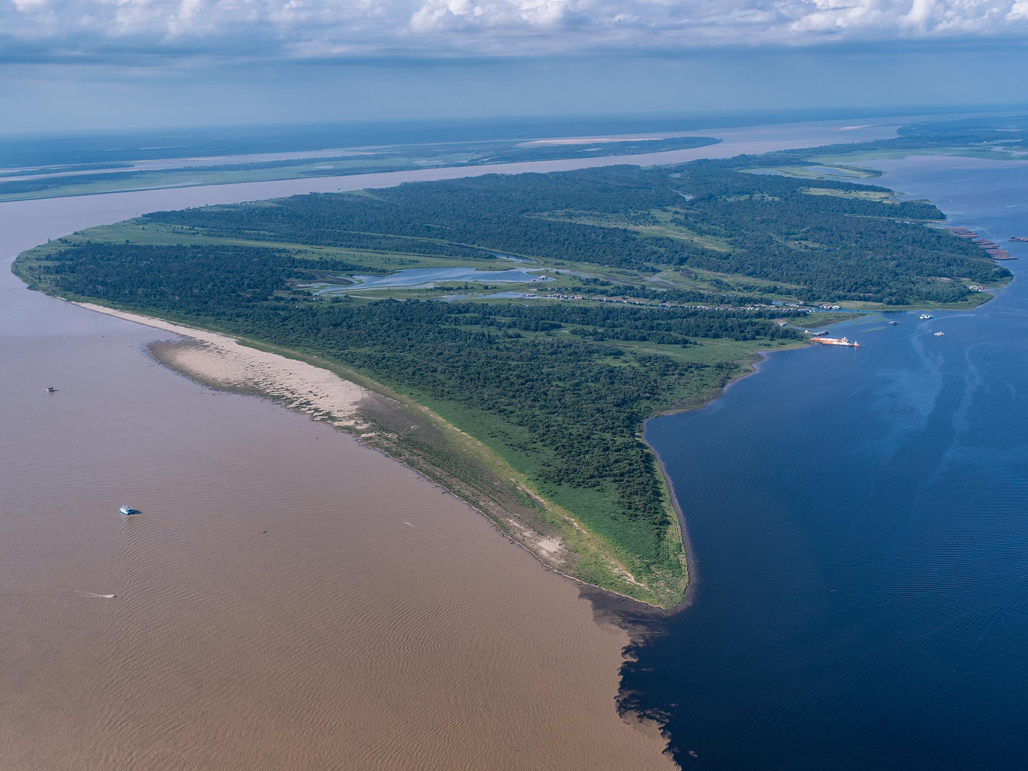 Where the Amazon River meets the Rio Negro.