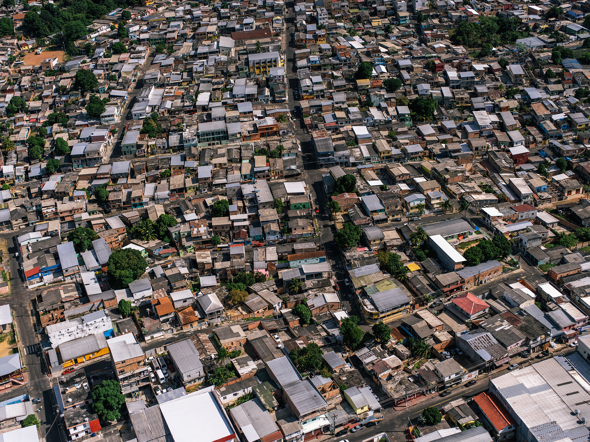The tightly packed favelas outside of Manaus.