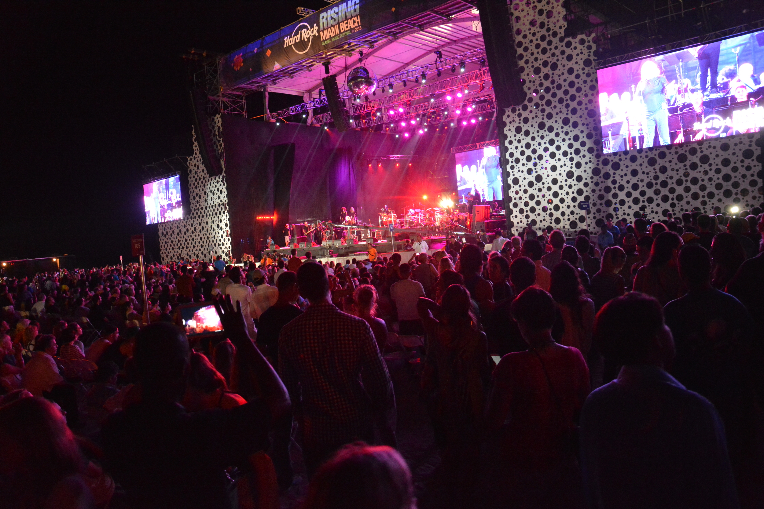 Thousands of locals and tourists gathered to share in the sights and sounds of Miami Beach 100 Centennial Celebration on the beach at 8th Street and Ocean Drive
