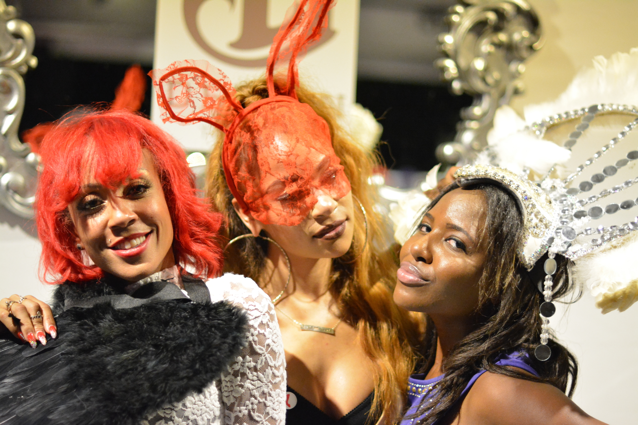 Fasion designer Paije Speights (center of image -@front_paije) plays dress-up at the Funksion after party