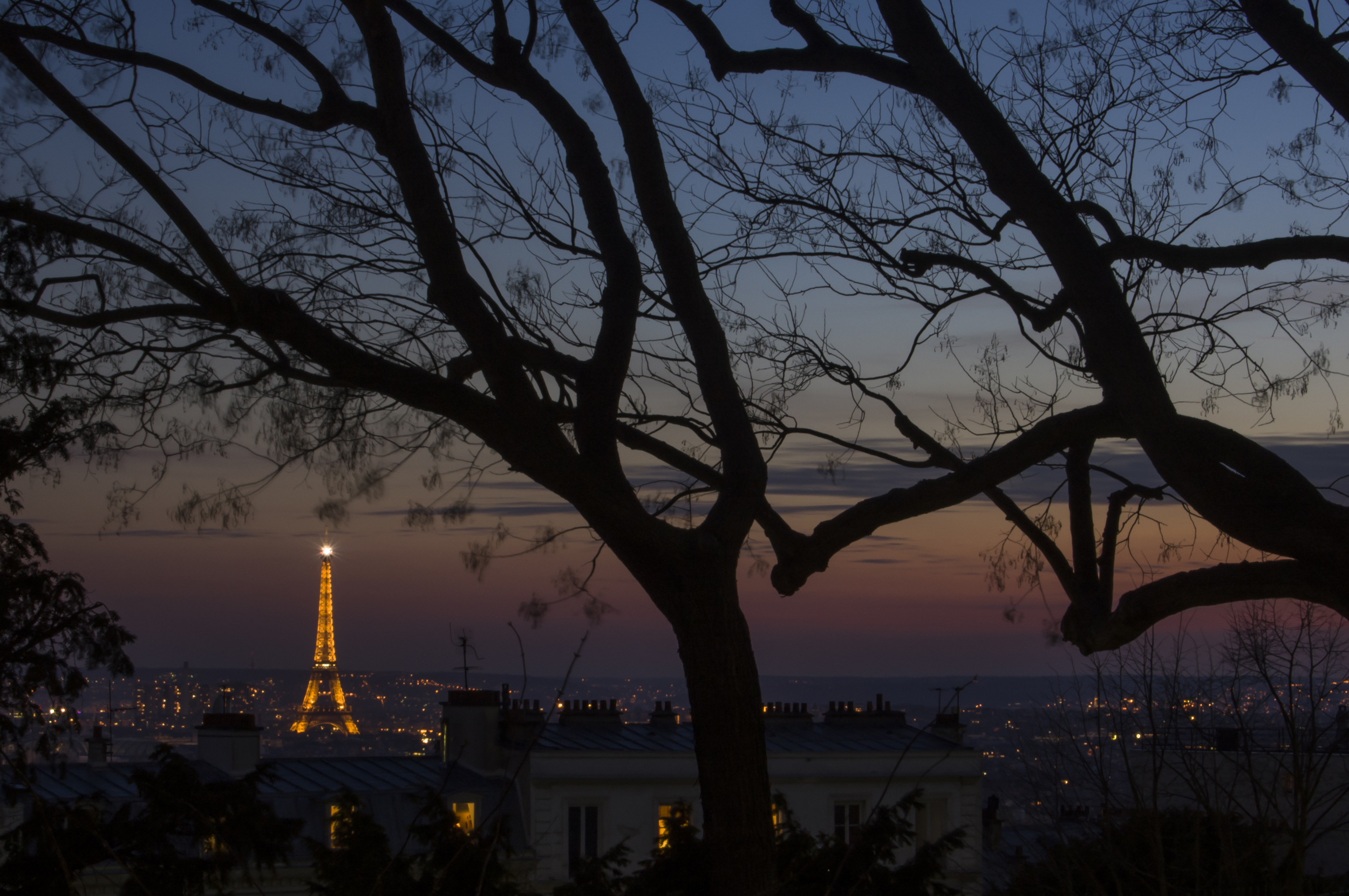 View from  Montmartre  in the 18th  arrondissement , the Eiffel Tower peeks through the trees as the sun sets.