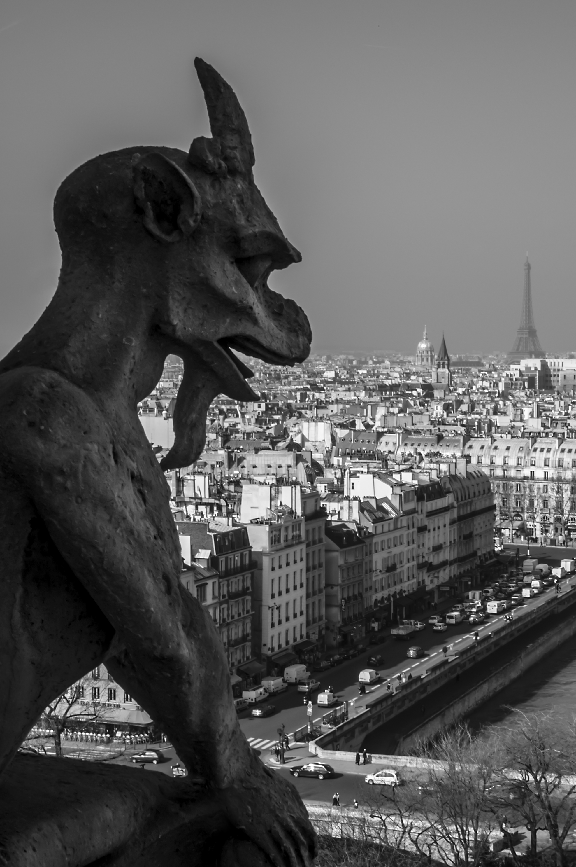 "Here is an original ""Gargoyle-overlooking-Paris"" photo from 2006, long before the idea of this shot became popular on Instagram."