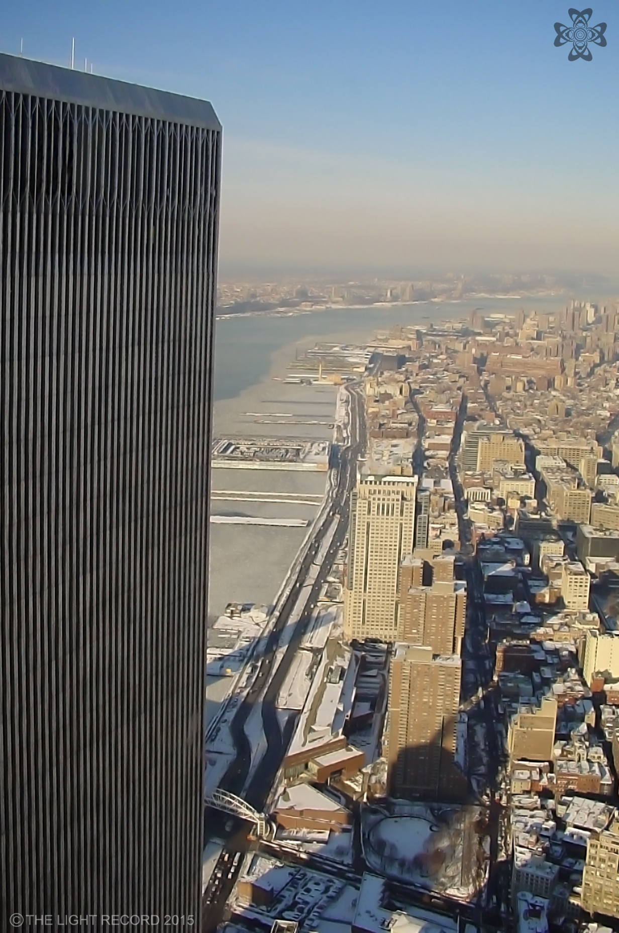 The greatest feature of the Old WTC was the open air observatory at the top. Here, the North Tower stands over the half-frozen Hudson River.