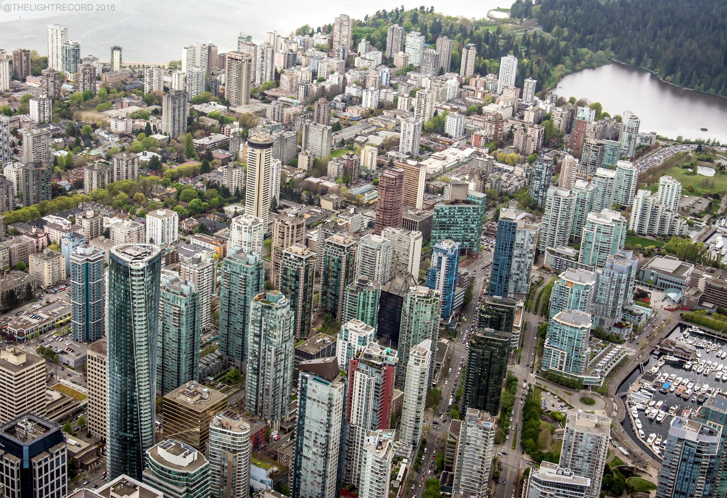 The Trump Tower (lower left) is scheduled to open in August. It is currently the second tallest building in Vancouver.