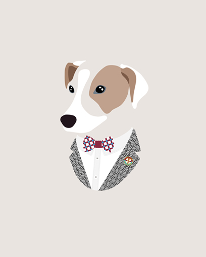'Thanks to @woofmodels for my awesome portrait. Love my claret & blue bow tie and West Ham pin. Good job all round!' - @rufusterrier