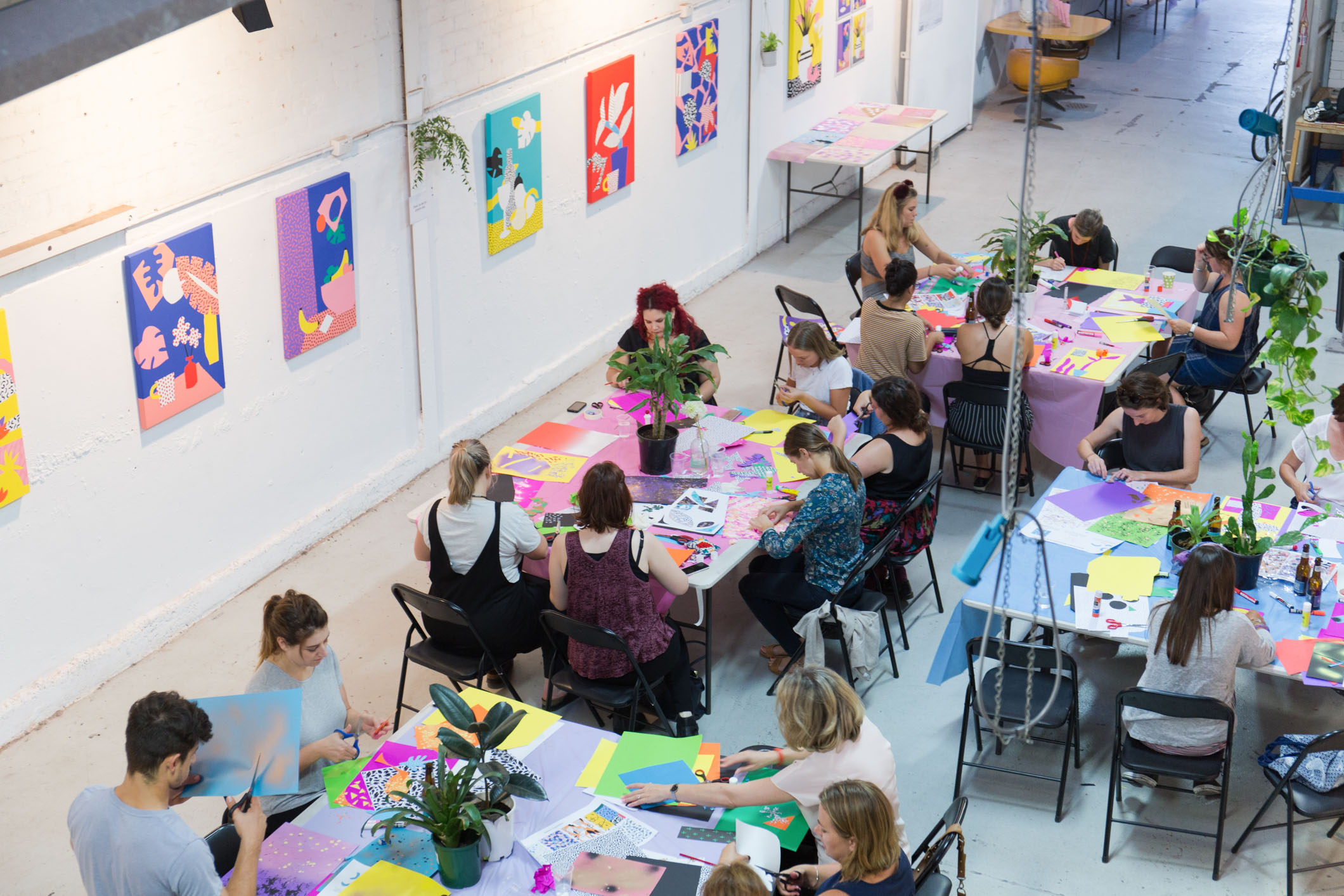Participants at a Plant Pattern Collage workshop held in conjunction with Synesthesia Exhibition in March 2016