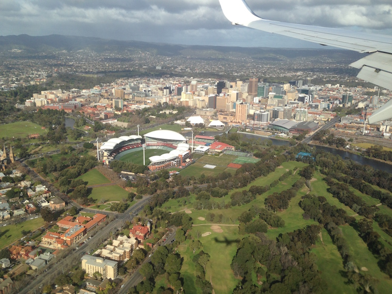 Adelaide Oval and city from the plane
