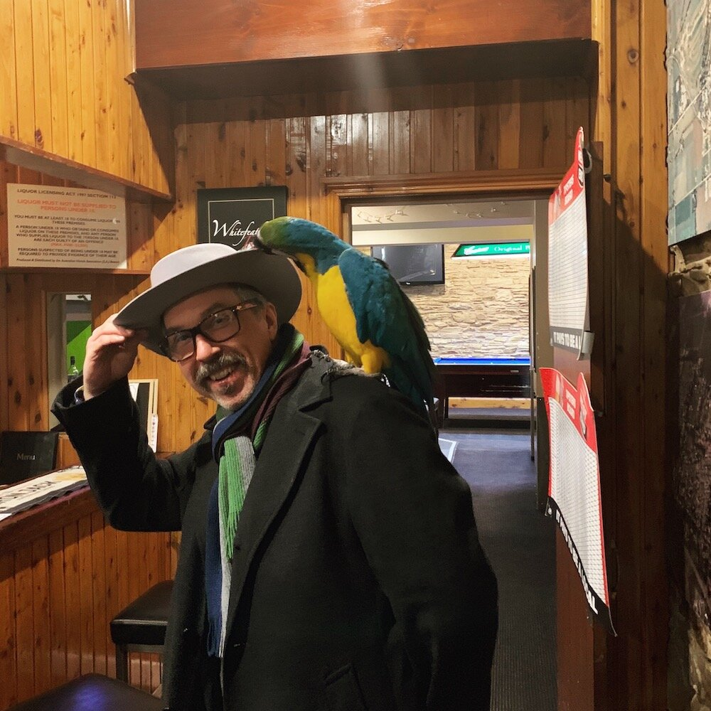 Big thanks to Robert Dunstan and the good folk of Willunga ...not so sure about the macaw. [Photo Peter Dalgleish]