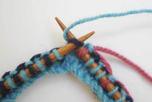 Carry Yarn A underneath Yarn B