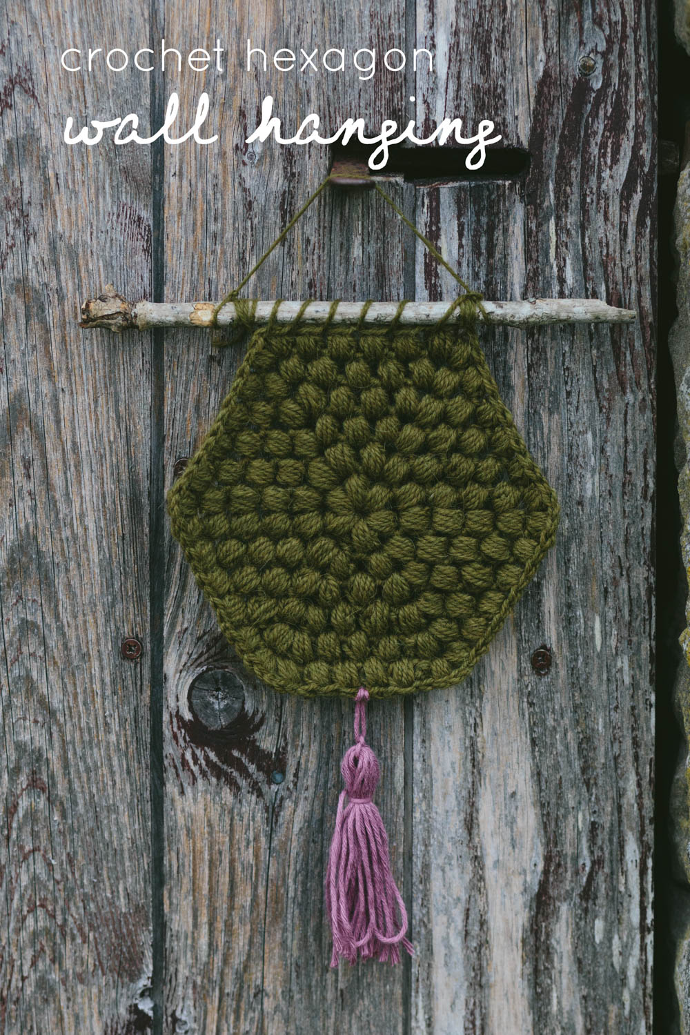 crochet hexagon wall hanging by kat goldin