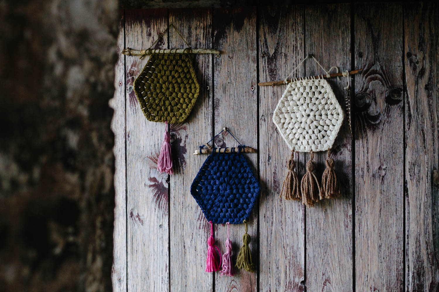 crochet hexagon wall handing by kat goldin