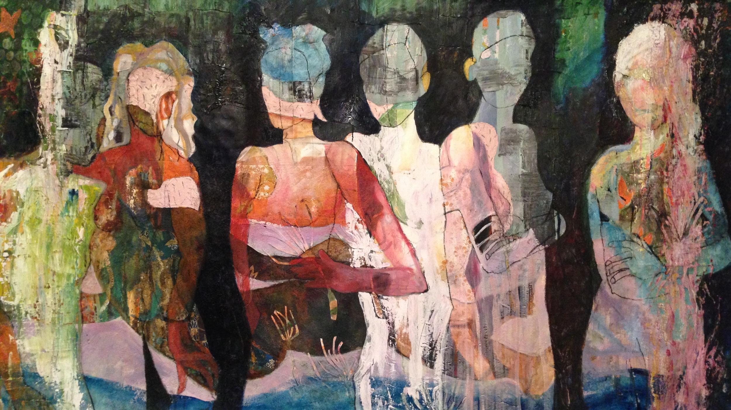 Illusion, Acrylic/ Oil/ Collage on canvas, 200 x 100 cm, 2015.