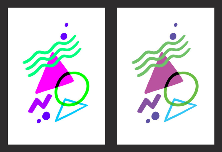 Left:  RGB /  Right:  The same file when converted to CMYK
