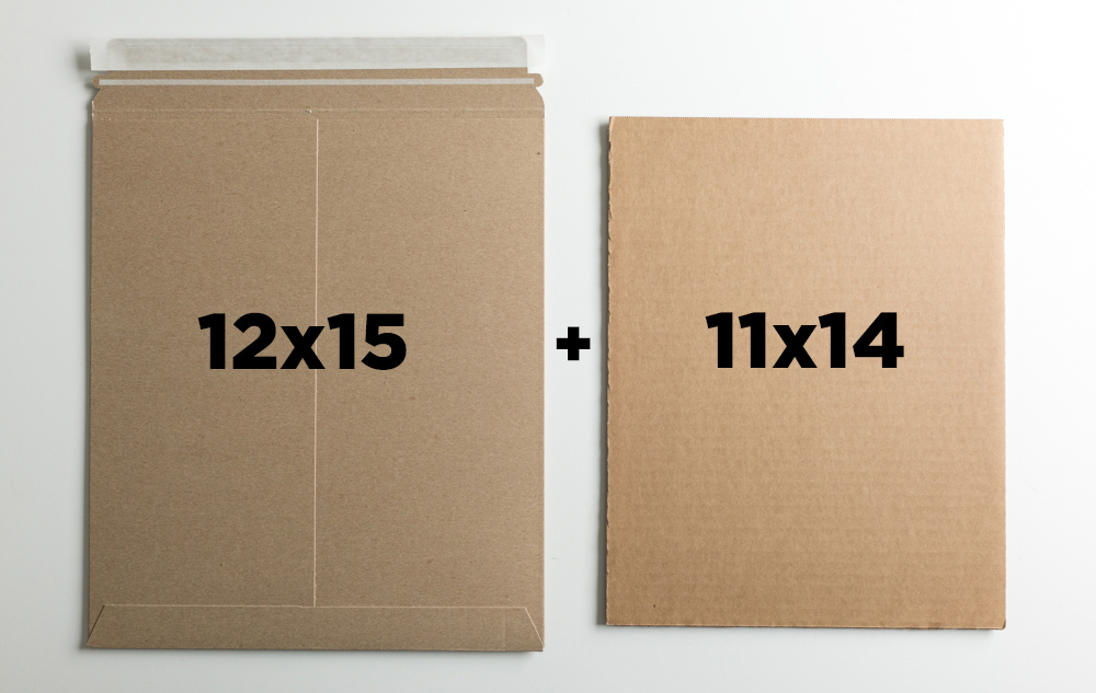 "OPTION A:  12x15"" mailer + one sheet of 11x14 cardboard"