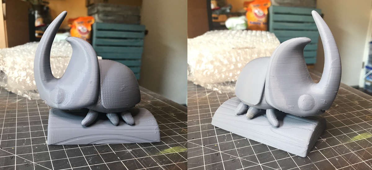 A draft quality 3-D output was made with a   Cetus3D   printer using   Esun PLA Pro   filament. Quality and resolution wasn't important at this stage. This was the first time the beetle had materialized in the real world and it acted purely as a visual gauge for size and volume. From this point I could decide to either scale up, scale down, or keep it as is.  *Spoiler alert* I kept it as is.