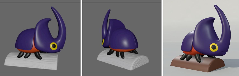 Various versions of the 3-D model as tweaks were being made.