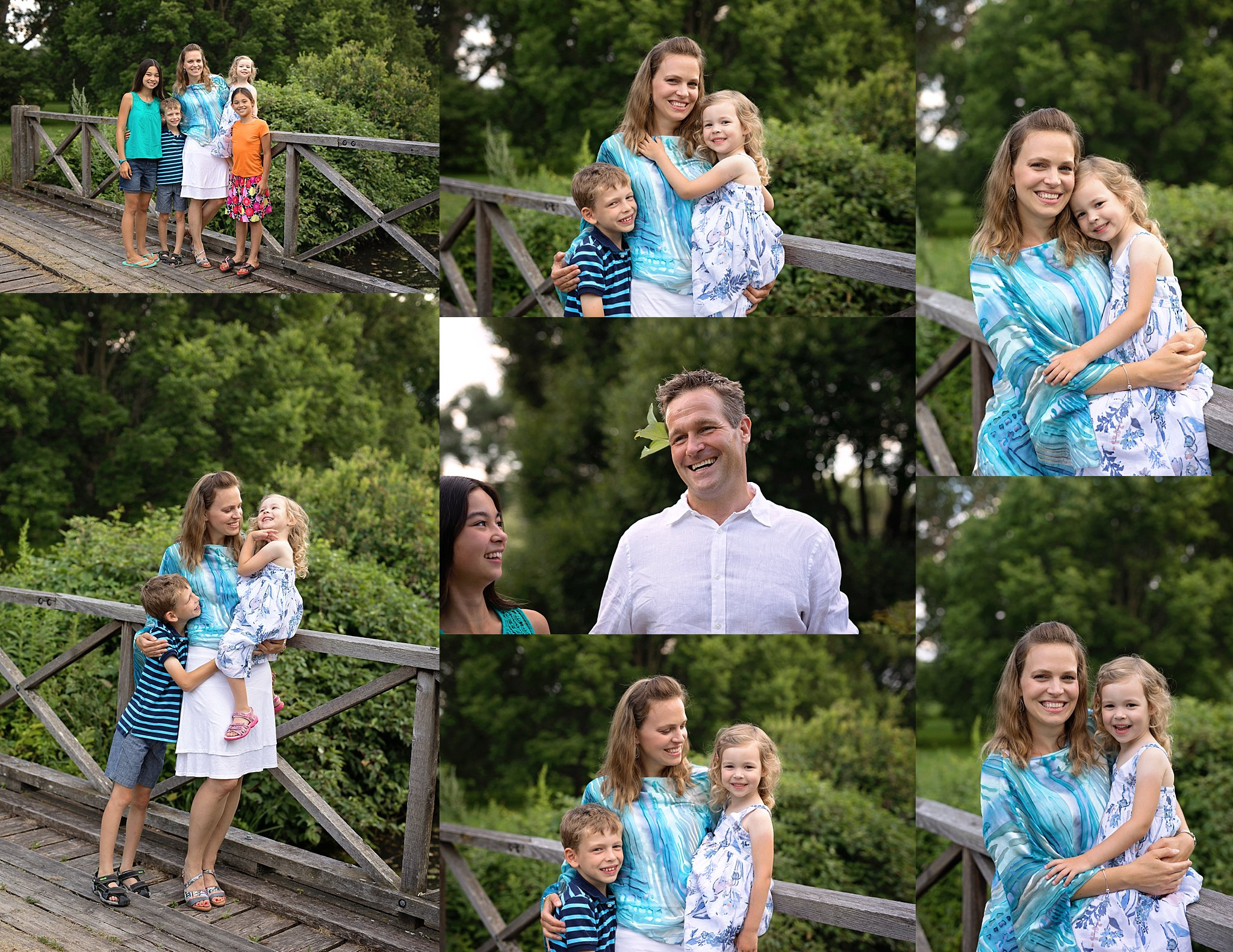 family photos on bridge