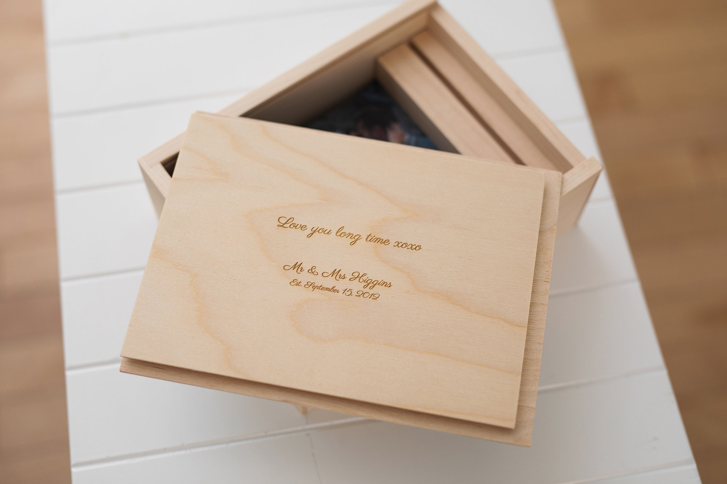 wood photo box engraved