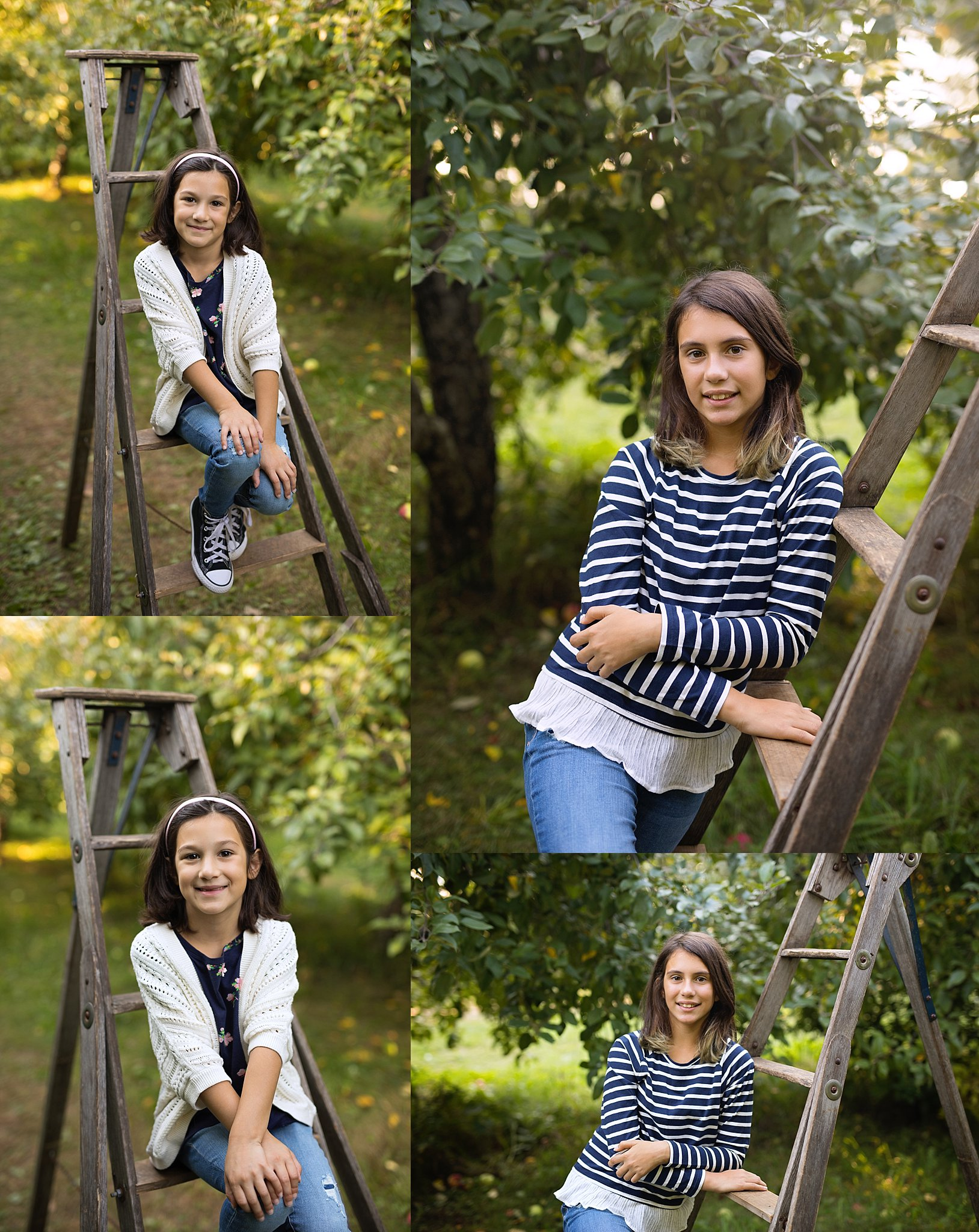 child portraits at orchard