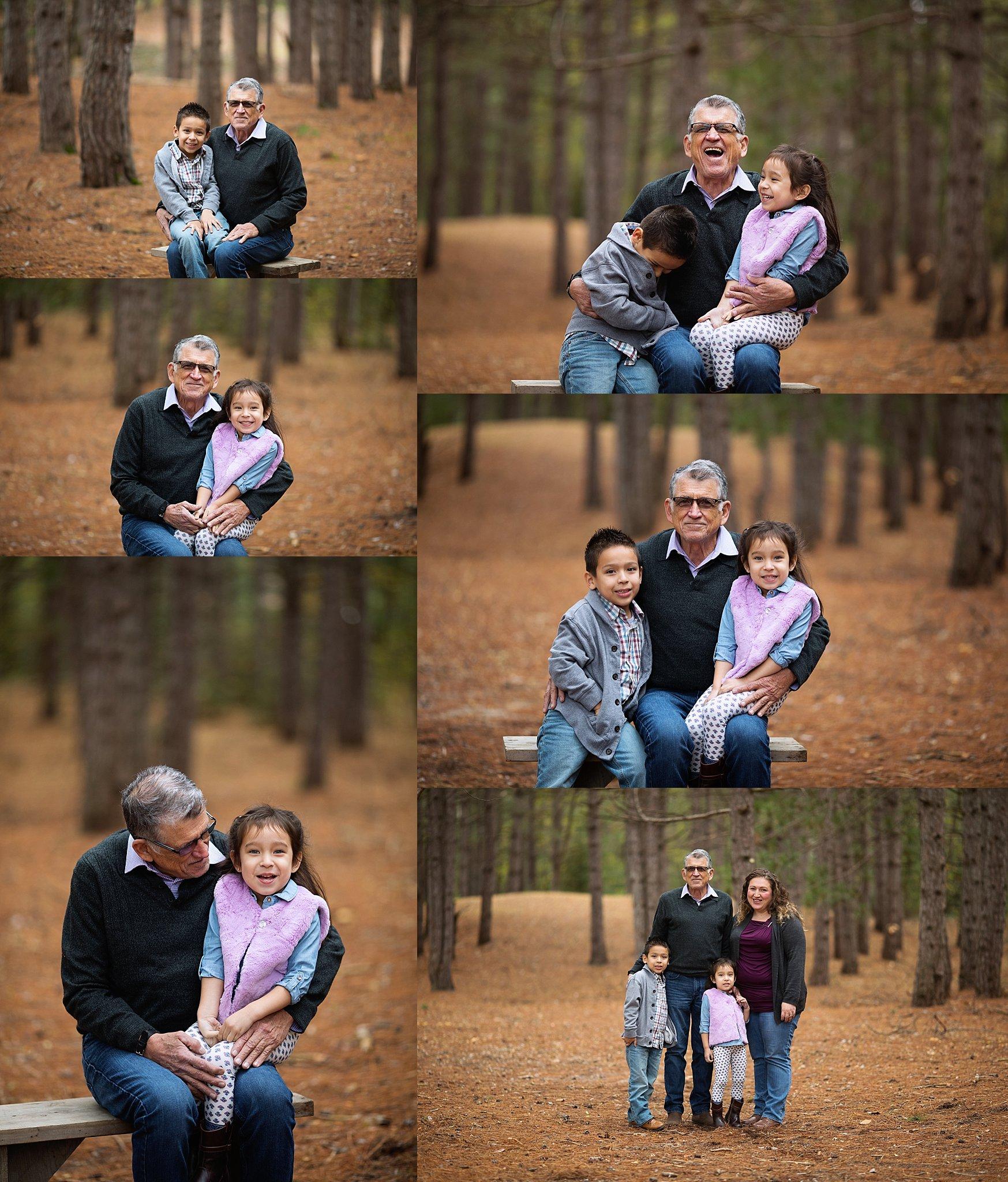 grandchildren with grandpa portraits