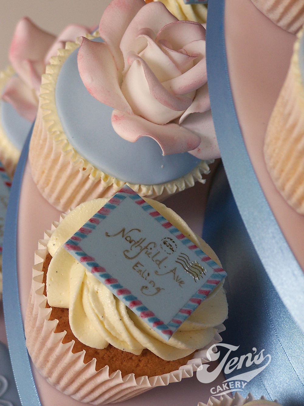 """Austen"" cupcakes (with handpainted vintage air-mail envelopes)"