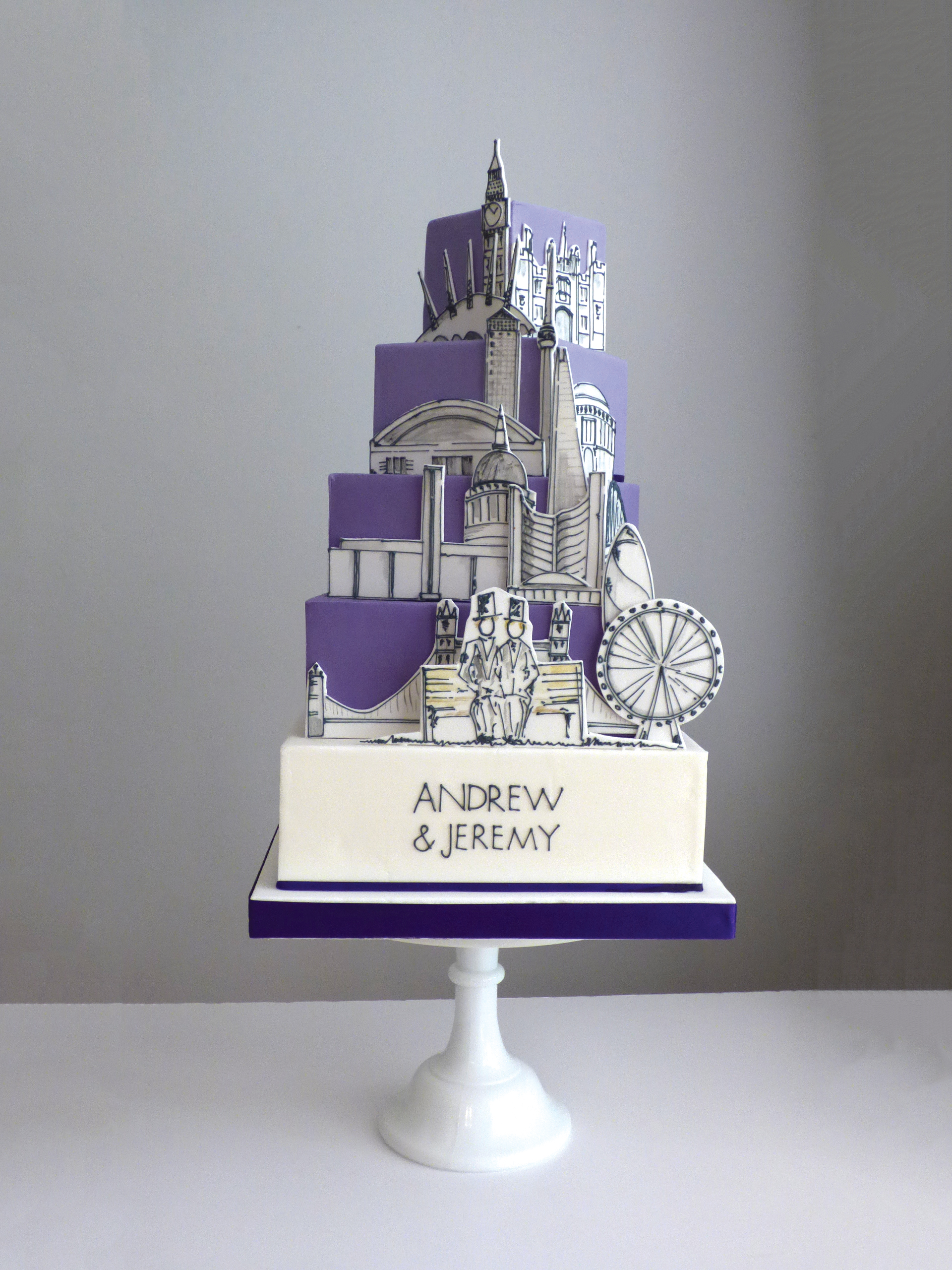 Iconic London Landmarks mixed with Toronto landmarks for two grooms