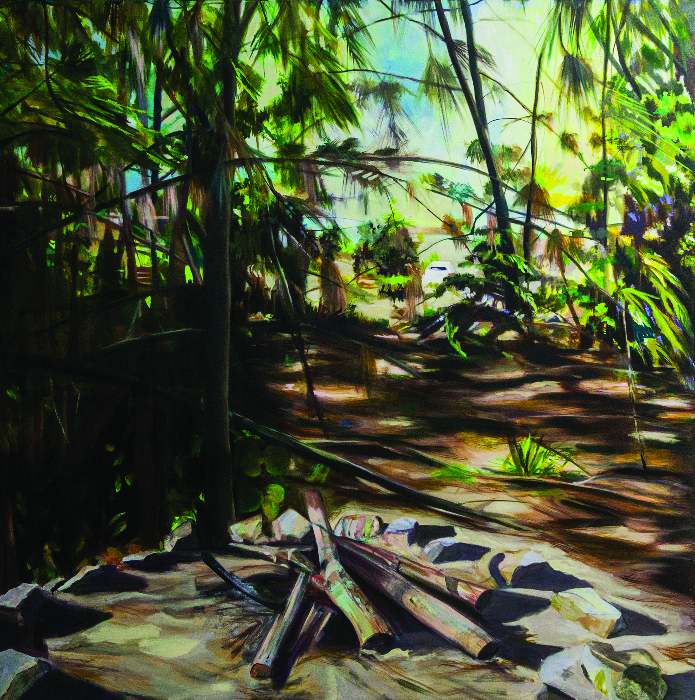 I was here first oil on canvas 153cm x 153cm