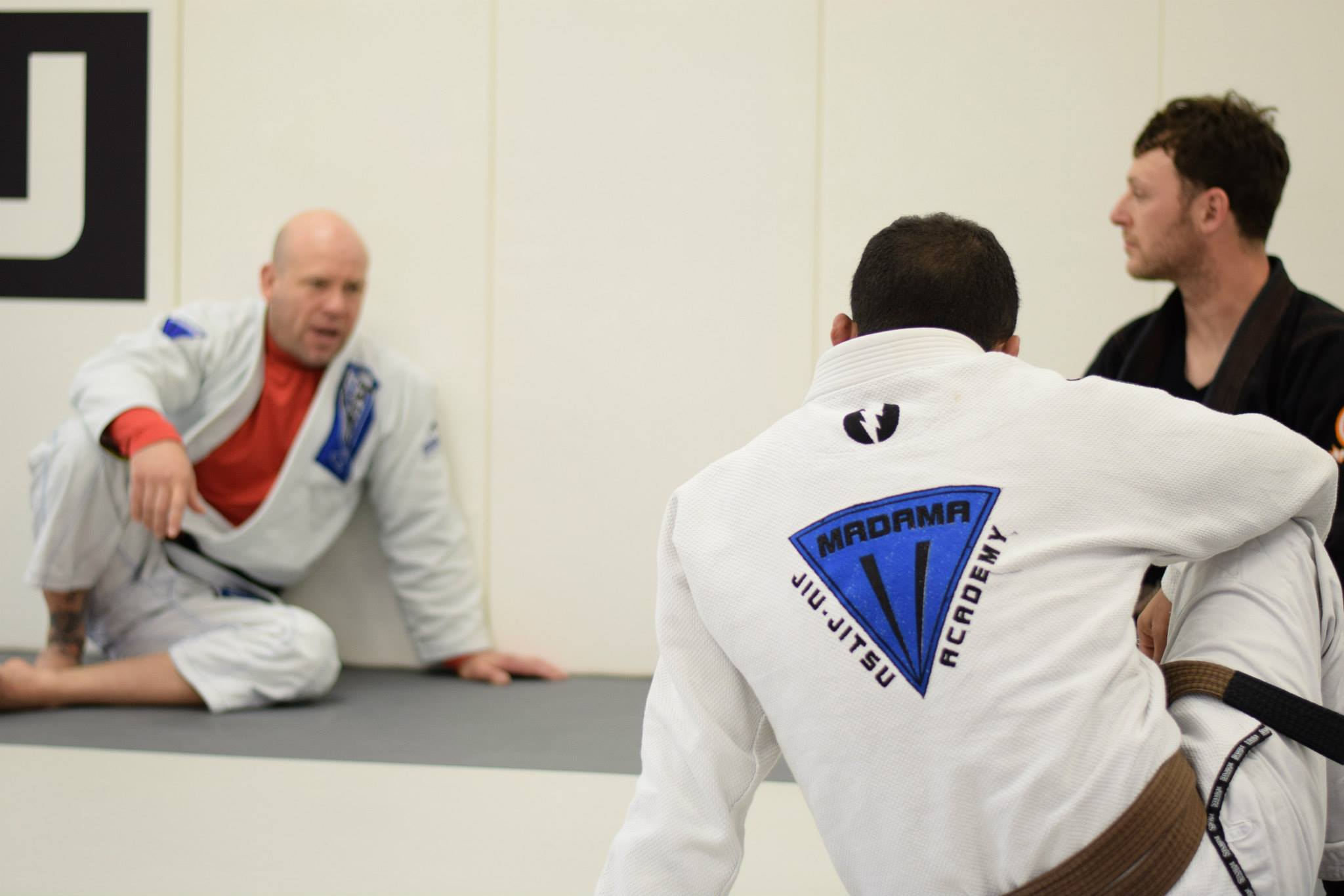 Professor Madama Instructing Two Brown Belts