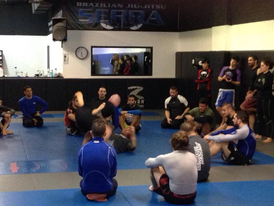 Professor Madama demonstrating how to navigate even the toughest closed guard this past Tuesday evening at Serra Jiu-Jitsu in Levittown, NY.