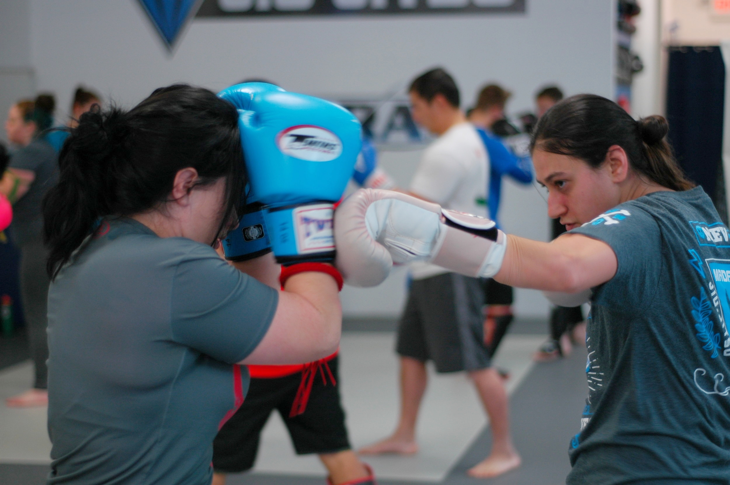 Technique drills at Saturday morning kickboxing
